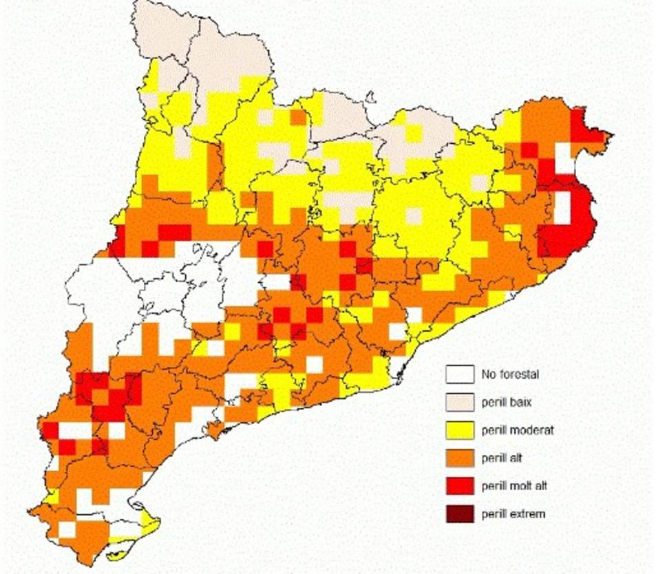 El mapa de predicció del perill d'incendi forestal