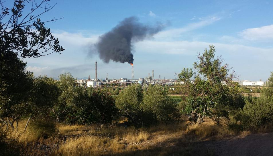 La planta de BASF-Sonatrach emet un intens fum negre a causa d'una parada
