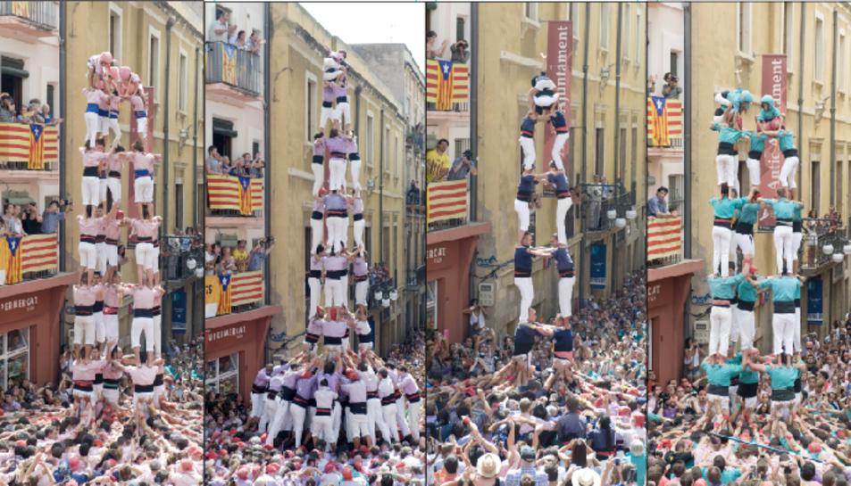 Les colles arriben a Sant Magí amb la il·lusió d'estrenar grans castells a les Cols