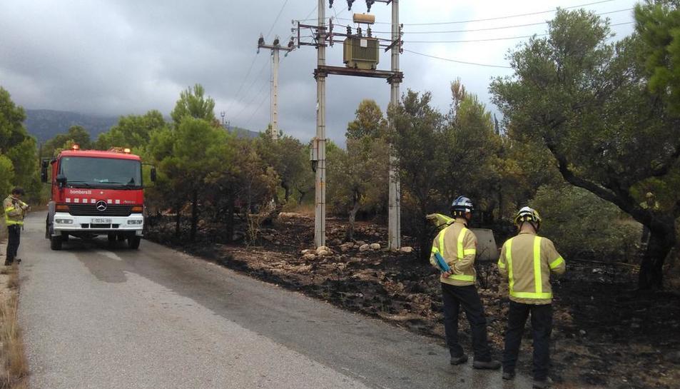 Cremen 1.000 m2 de vegetació a l'N-340 a l'Hospitalet de l'Infant