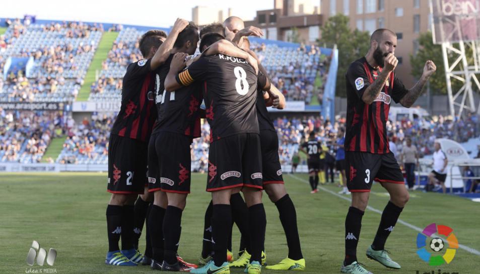 Els jugadors del Reus, celebrant el gol d'Edgar.