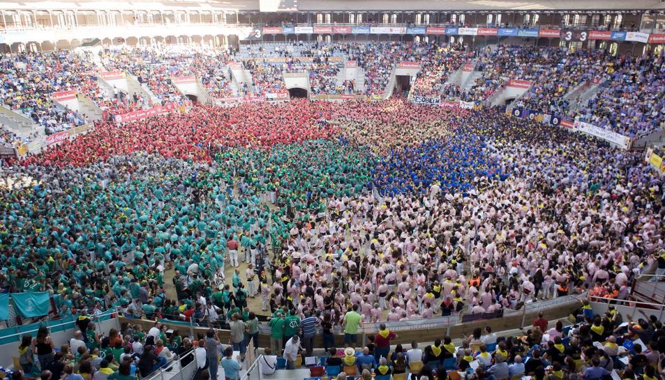 Imatge d'arxiu de les colles a la Tarraco Arena Plaça, en el concurs del 2014.