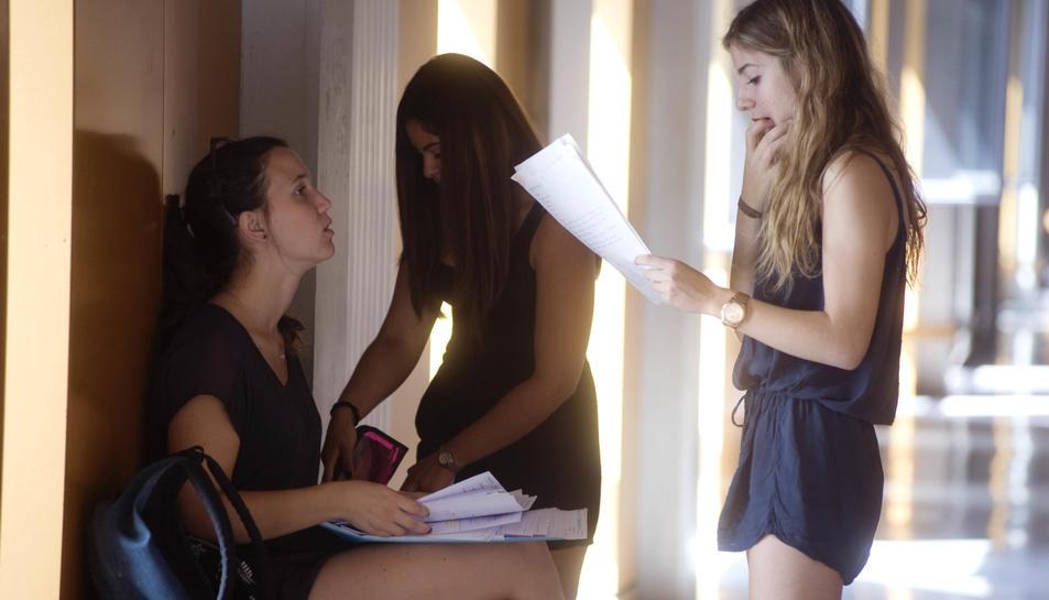Estudiants repassant els apunts abans d'entrar a la sala per a fer les proves.