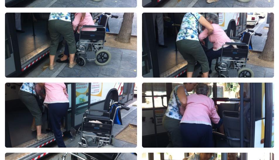 Seqüència d'imatges del que va viure ahir aquesta usuària per poder pujar al bus.