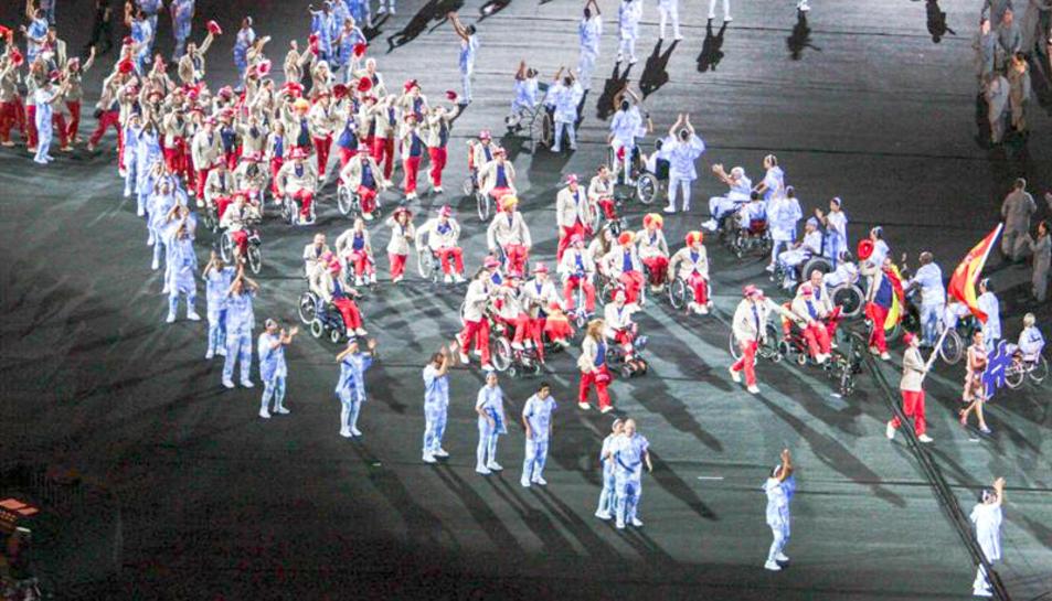 Imatge de la desfilada de la delegació espanyola.