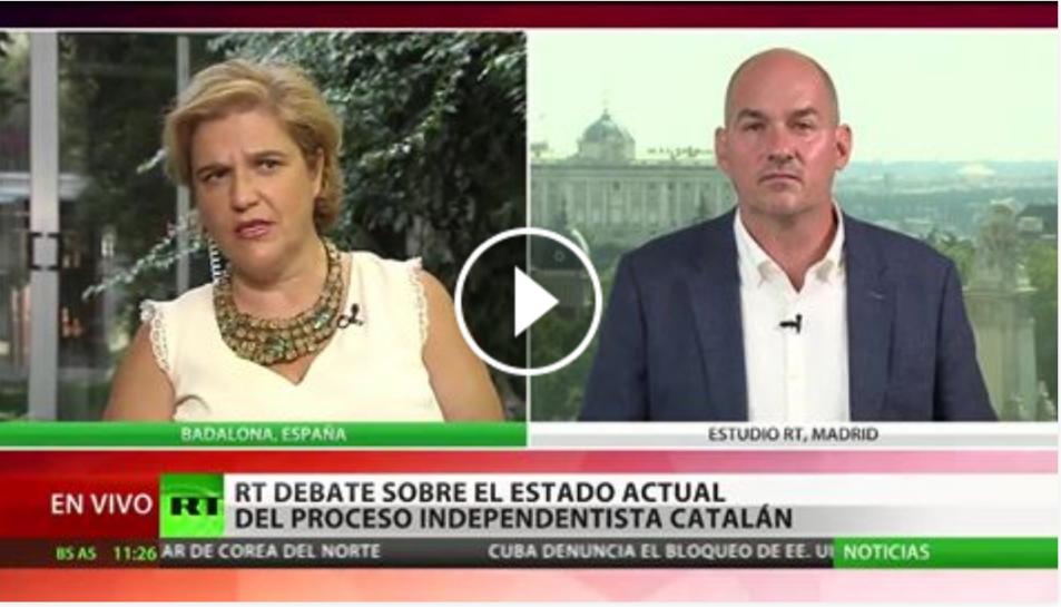Captura d'imatge de l'inici de l'emissió del debat a RT.