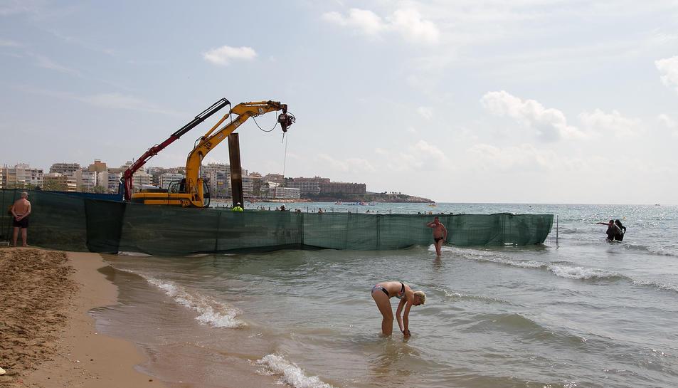 Imatge de l'estat actual de la platja de Llevant de Salou, ahir al matí.