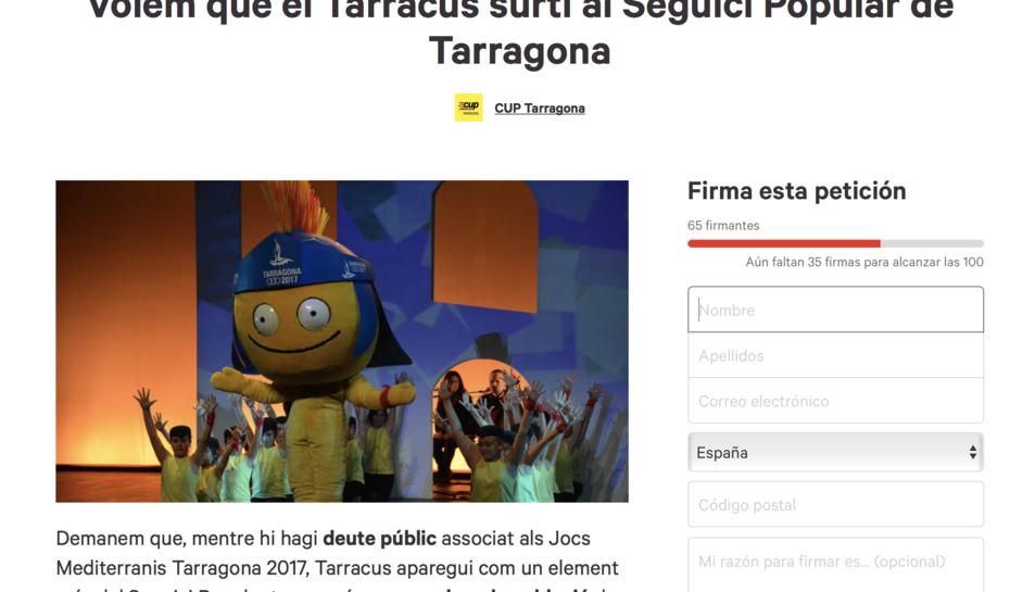 La petició l'ha presentada la CUP de Tarragona, segons apareix a la pàgina.