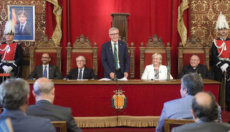 L'alcalde de Tarragona, en el moment de tancar l'acte del pregó.