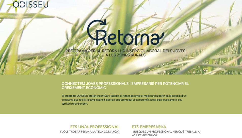 Captura de la página web de Retorna.