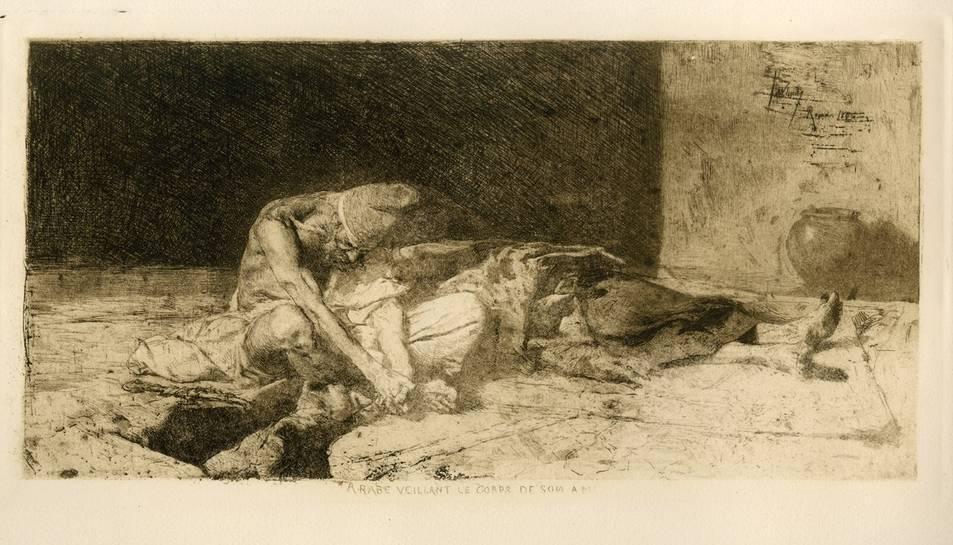 Una de les obres calcogràfiques de Mariano Fortuny i Madrazo: 'Àrab vetllant el cos del seu amic'