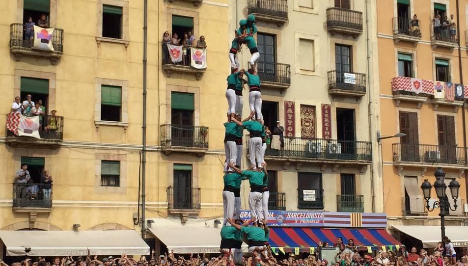 4de8 dels Castellers de Sant Pere i Sant Pau a la diada de Santa Tecla.
