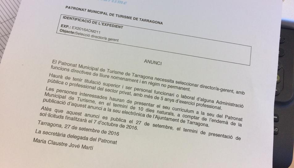 L'anunci publicat a la pàgina web de l'Ajuntament.