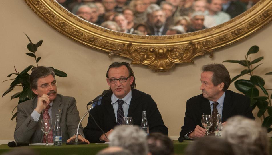 L'actual president, Francesc Gras (esquerra) en un acte a la societat El Círcol.