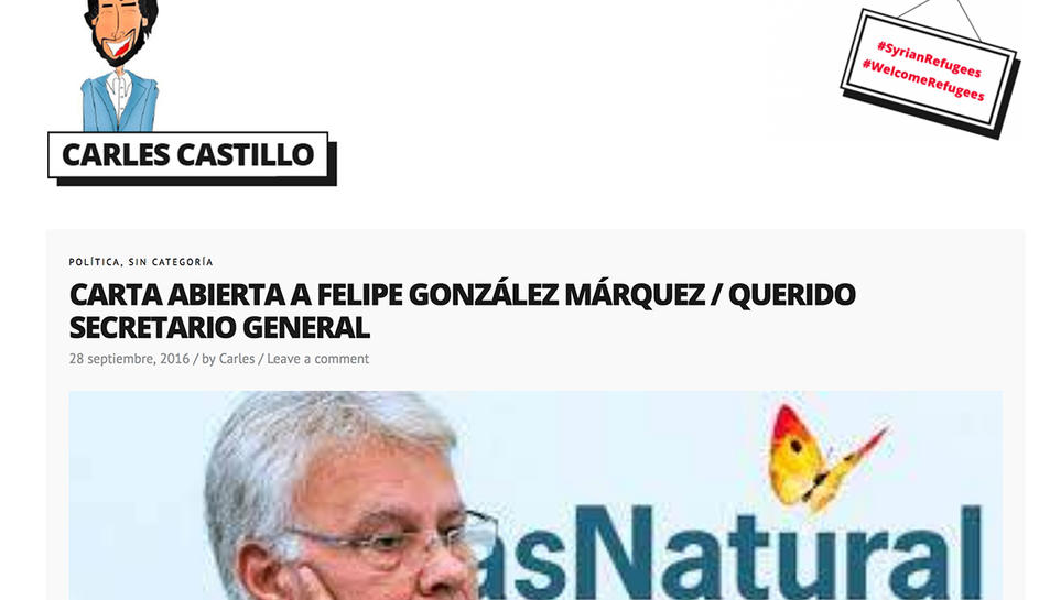 Captura de pantalla d ela web del diputat Carles Castillo