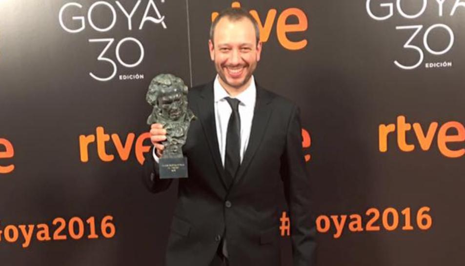 El tarragoní José Luis Montesinos amb el Goya 2016 al millor curt de ficció per 'El Corredor'.