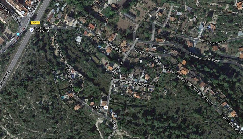 Imatge del plànol satèl·lit de la zona propera a Sant Pere i Sant Pau.