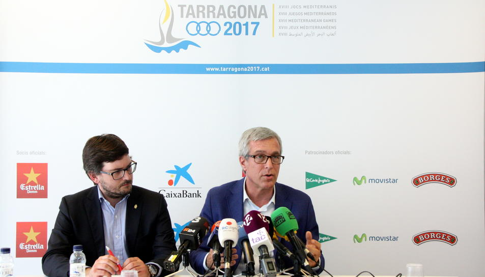 Imatge d'arxiu de l'alcalde de Tarragona, Josep Fèlix Ballesteros, i del coordinador dels Jocs, Javier Villamayor.