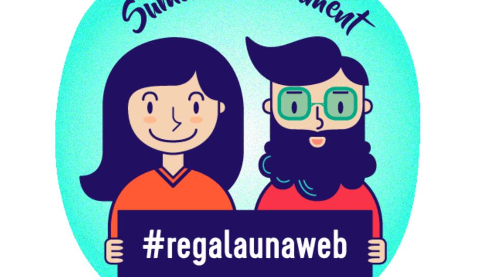 Imatge promocional del concurs #Regalaunaweb, que ha posat en marxa l'empresa Mirall Digital.