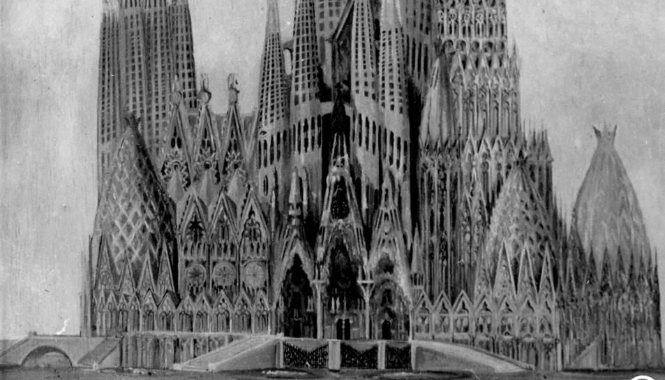 Projecte inèdit de la Sagrada Família amb una torre a la dreta de la façana del Naixement que Gaudí hauria descartat.