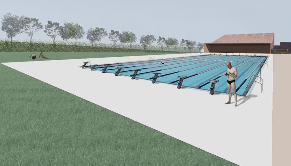 Imatge projectada de la futura piscina olímpica de 50 metres que encara es troba pendent de licitar, quan el seu finançament és dubtós.