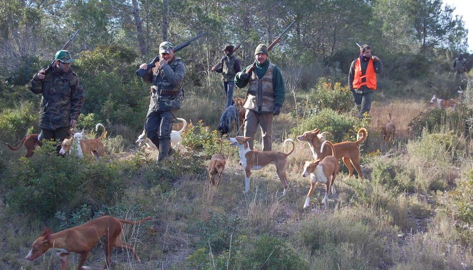 Caçadors de Mont-roig del Camp, caçant el conill.