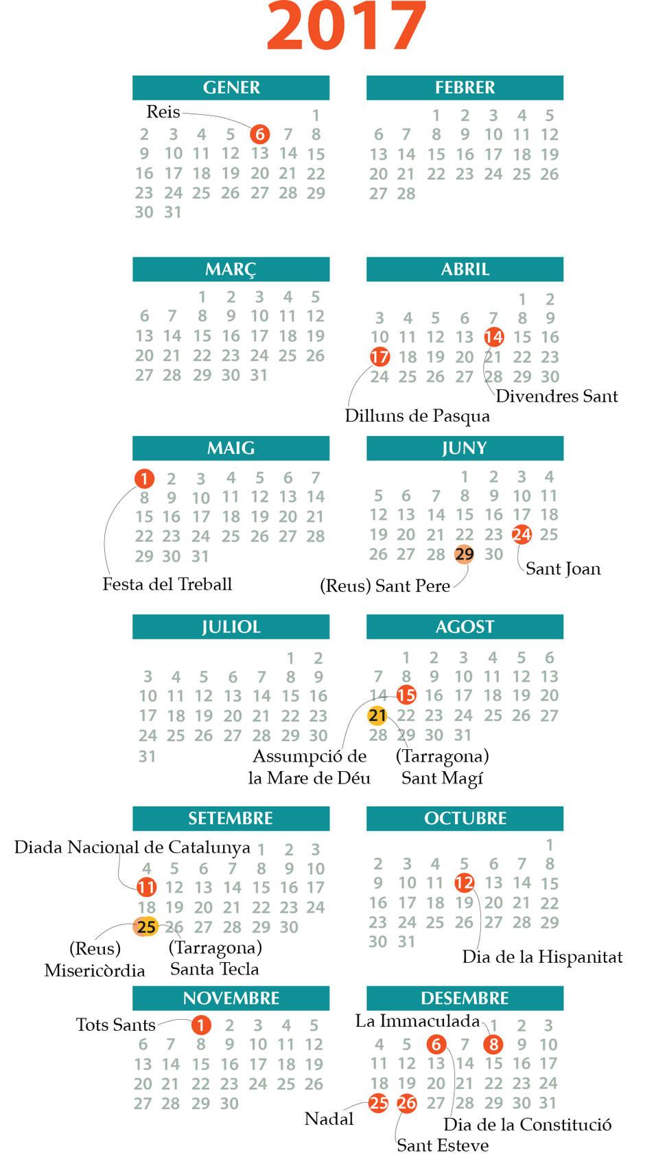 El calendariEl calendari laboral del 2017 laboral del 2017