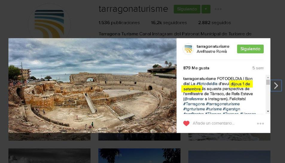 L'última publicació del Patronat a Instagram.