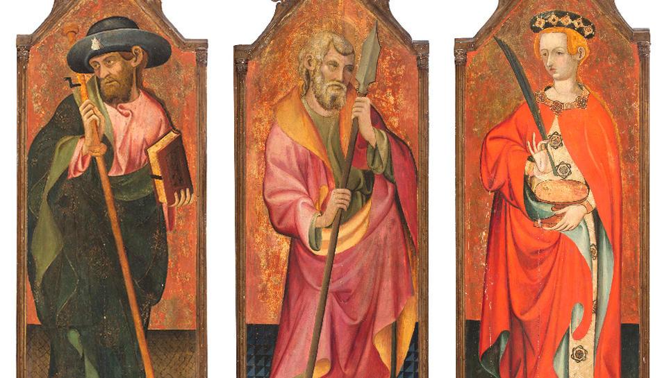 Les pintures de Sant Tomás apòstol, Sant Jaume apòstol i Santa Llúcia, que surten a subhasta per 210.000 euros inicials.