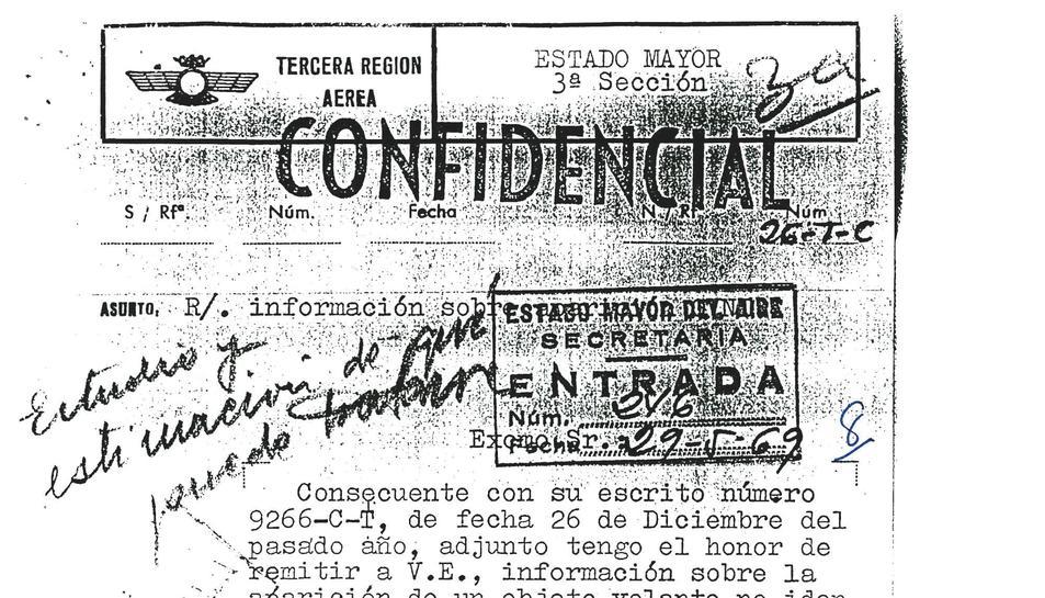 Un dels documents desclassificats que informa d'un albirament.