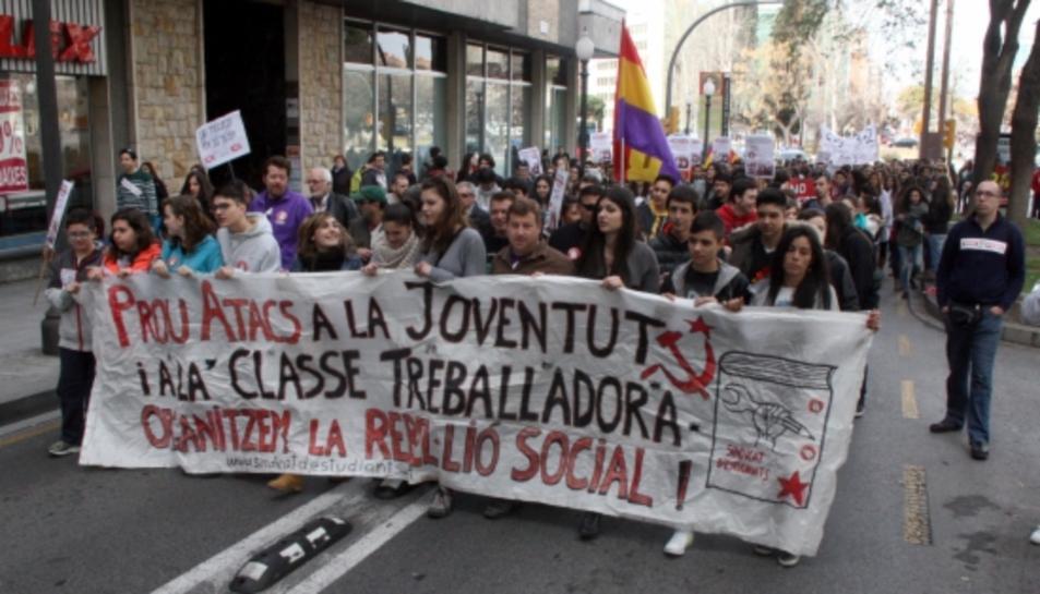 imatge d'arxiu de la manifestació d'estudiants a Tarragona el 26 de febrer del 2015.