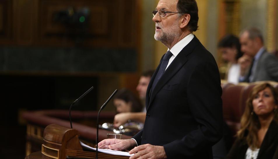 Rajoy, durant el debat d'investidura.