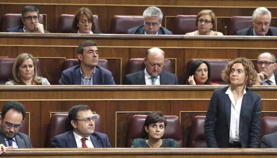 La diputada Meritxell Batet durant les votacions del debat d'investidura del líder del PP, Mariano Rajoy.