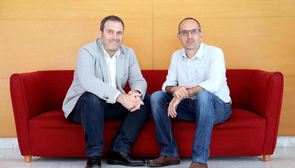 Folguera i Orensanz després de l'entrevista ahir al Teatre Batrina.
