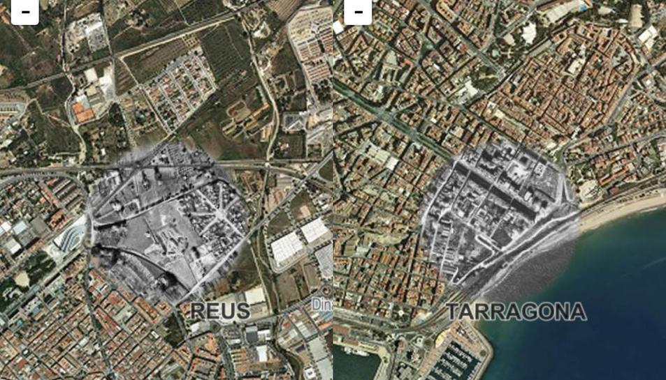 Captures de la cartografia d eTarragona i Reus amb l'apliació per a mòbils.