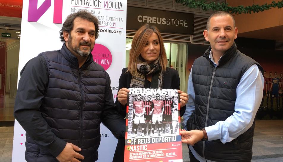 Ferran Pujol, Noelia Canela i Jordi Ruiz van presentar ahir aquesta iniciativa solidària a El Pallol.