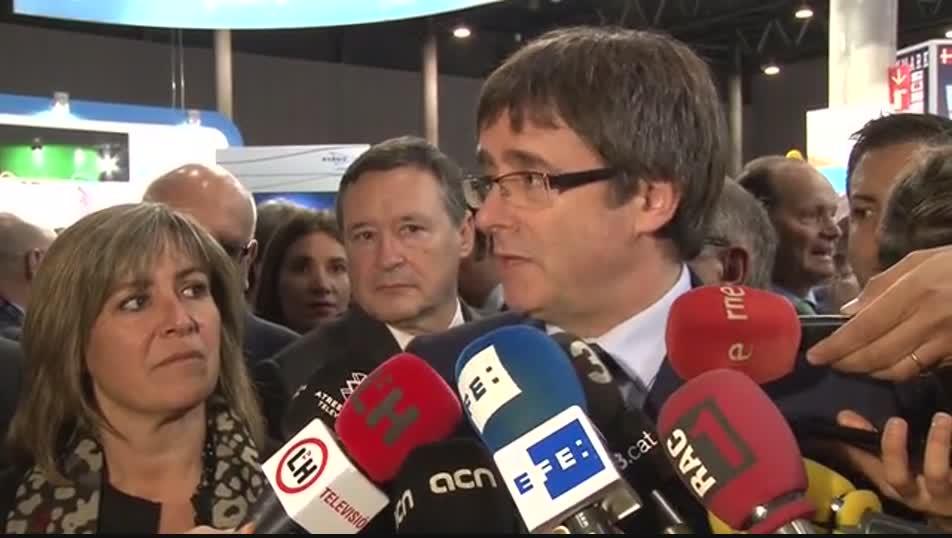 El president Puigdemont durant les declaracions d'aquest dimarts.