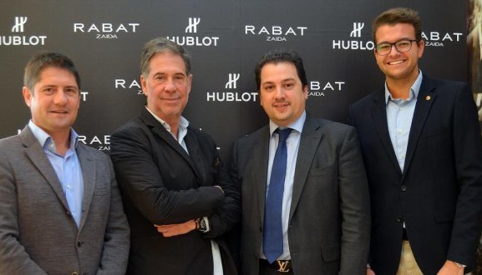 Lluís Fàbregas, director general grana; Salva Minguella, representant de Rabat Zaida; Diego Flores, representant de Rabat Zaida; Jose Maria Andreu, responsable de Màrqueting i Patrocinis del Nàstic.