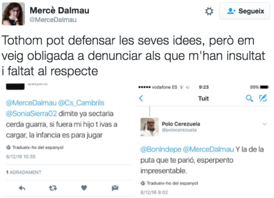 La piulada de Mercè Dalmau en que reconeix la denúncia.