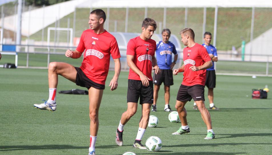 Els jugadors del CF Reus, durant un entrenament aquesta temporada.