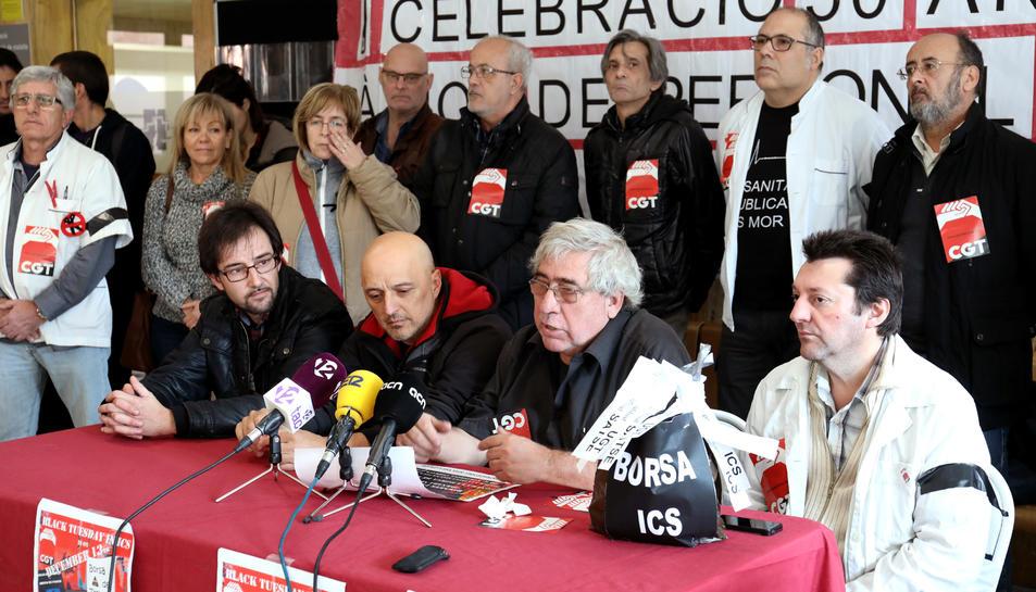 Components d'CGT d'arreu de Catalunya van unir-se a la protesta
