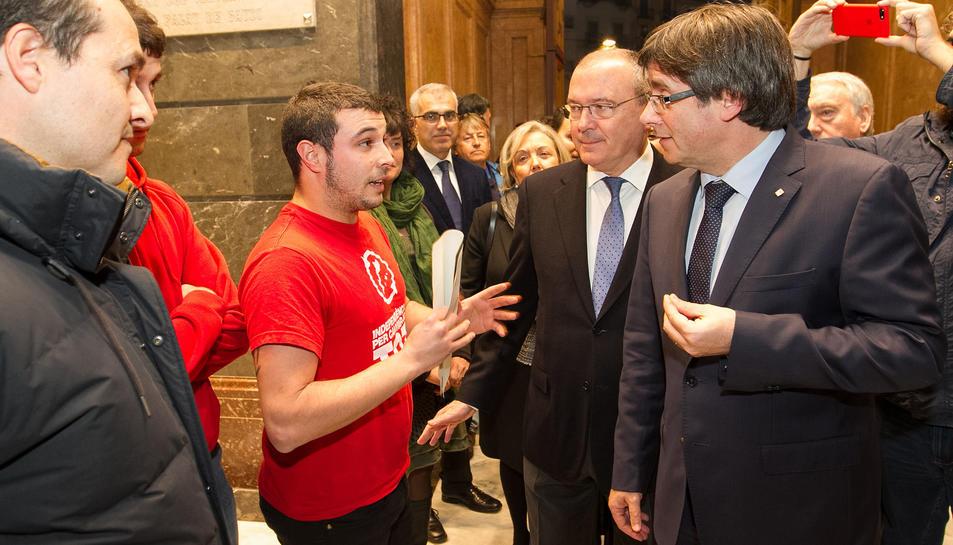 Moment de la trobada dels cupaires amb Puigdemont.