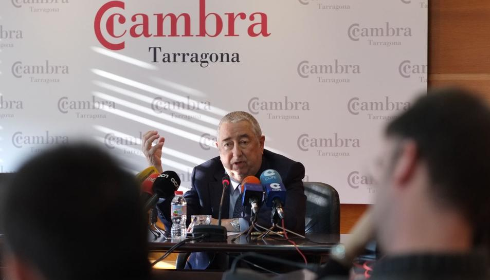 Andreu Suriol, a la seu de la Cambra de Comerç durant la roda de premsa.