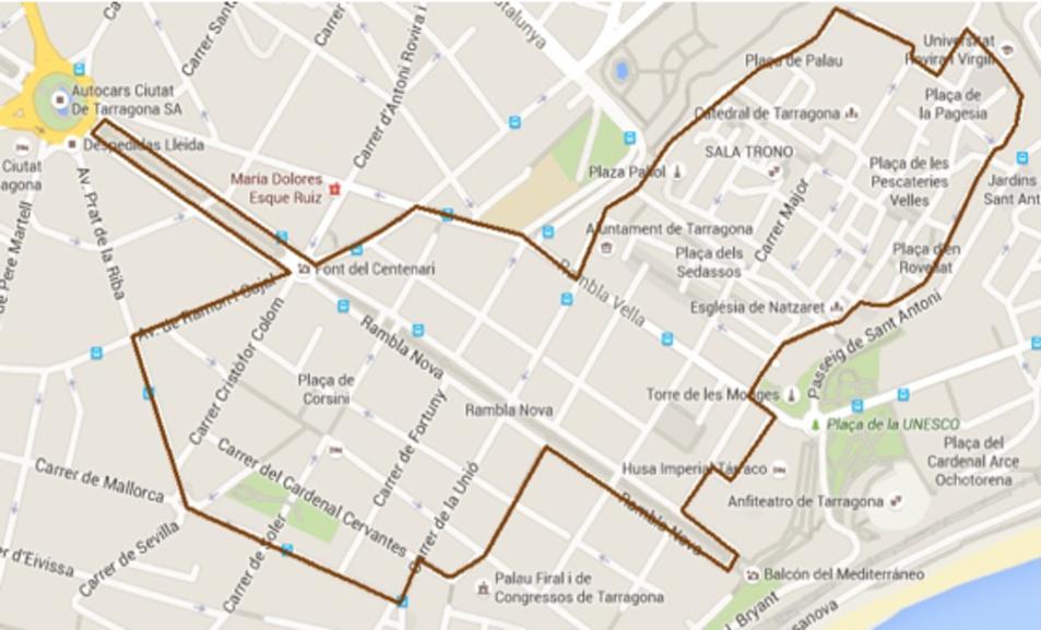 Plànol de delimitació de la Zona Atenció dels Creueristes.