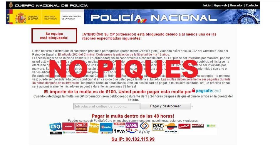El missatge suplanta la identitat de la Policia Nacional.