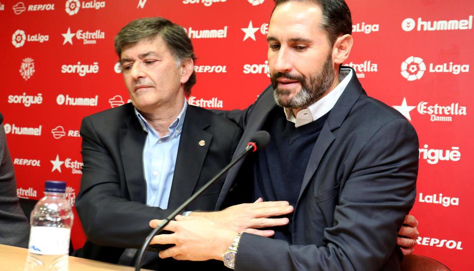 L'ex entrenador grana, Vicente Moreno i el President del Nàstic, Josep Maria Andreu.