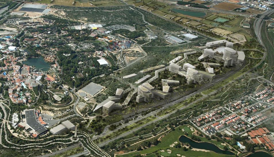 Imatge aèria del futur Centre Recreatiu i Turísitc (CRT).
