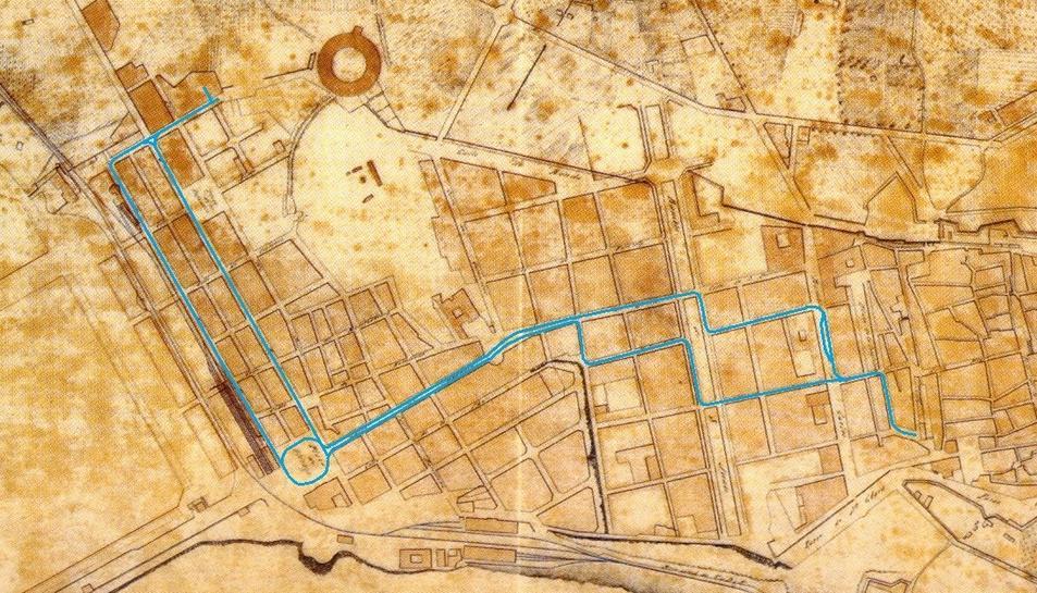 Traçat principal del tramvia de Tarragona, amb el desdoblament als carrers del Mar i Reial.