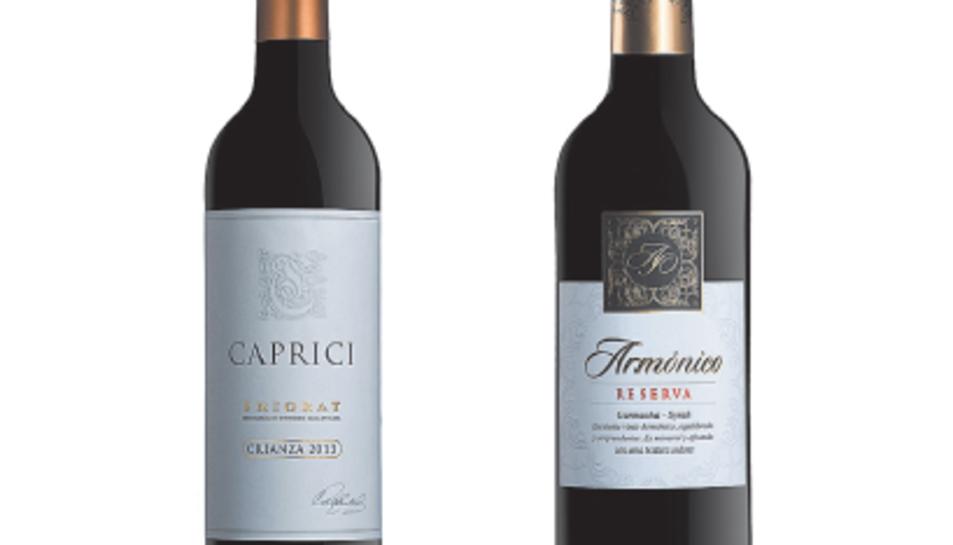 Les ampolles dels nous vins a la venda Caprici i Armónico.