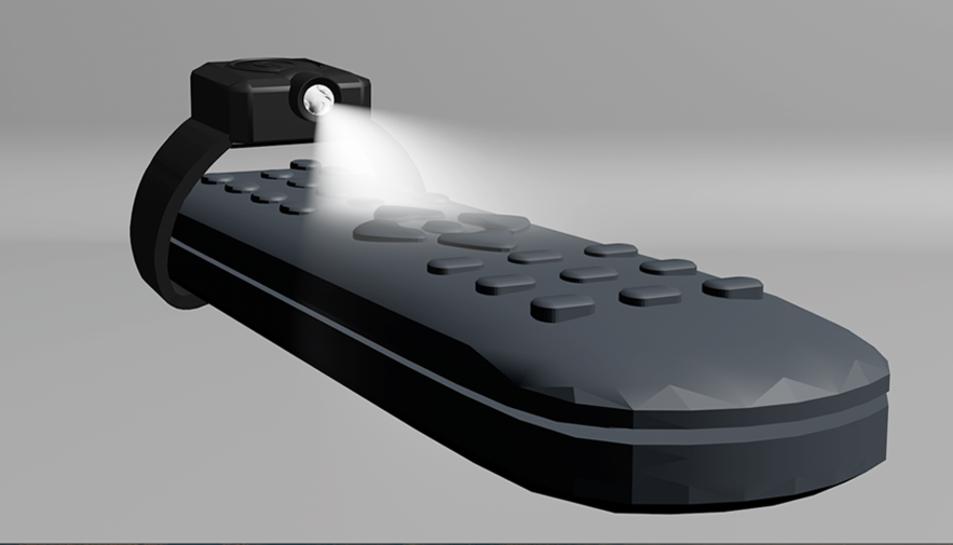 Una parella d'espanyols ha inventat un aparell que il·lumina el comandament a distància.